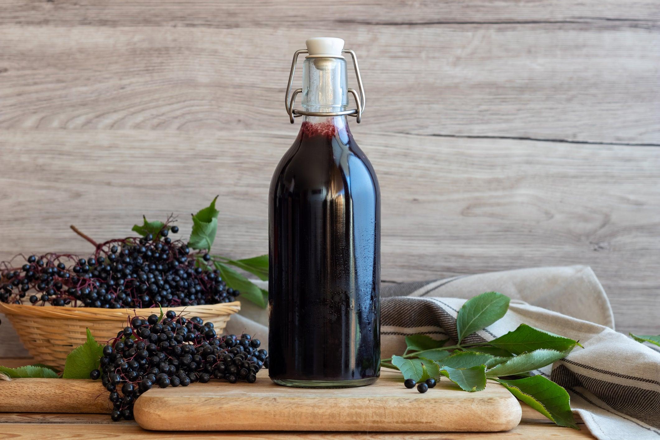 elderberries and homemade elderberry syrup