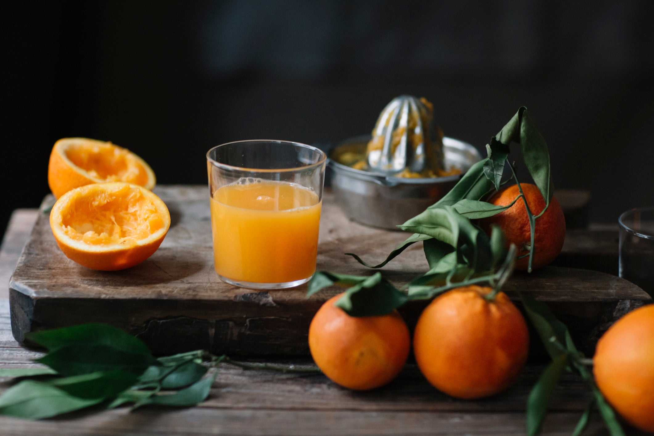 Oranges and fresh squeezed orange juice packed with vitamin C