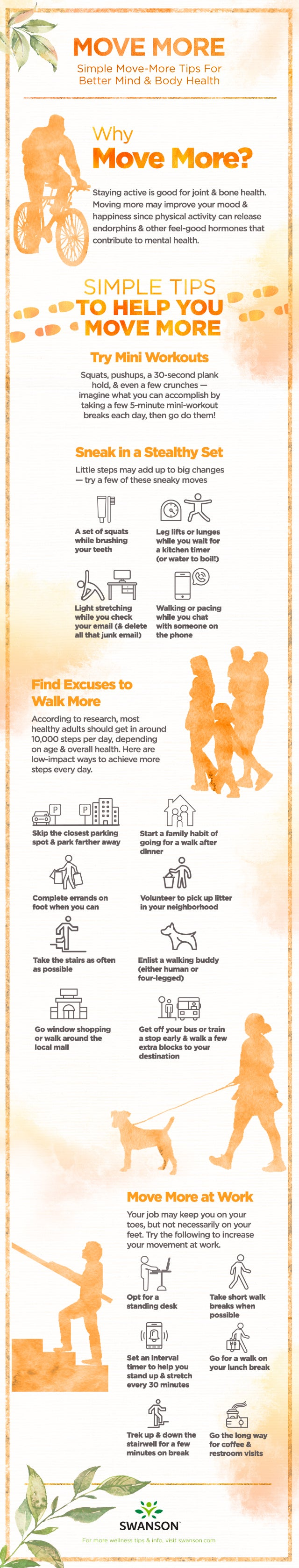 Simple tips to move more for better mind and body health - infographic by Swanson Health