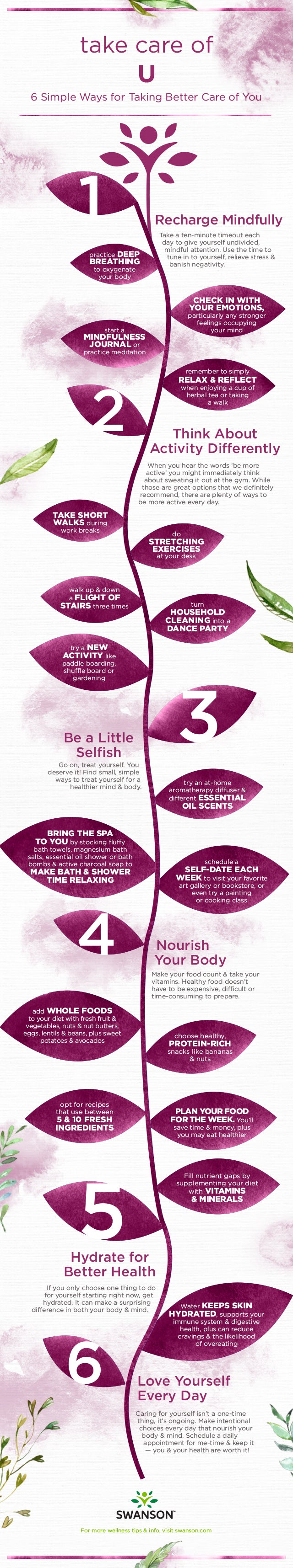 Ways to Take Care of You - infographic with self-care tips