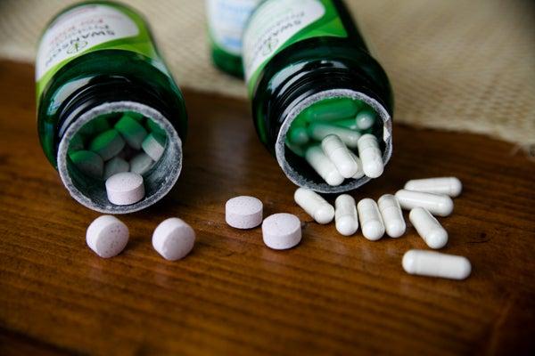 Spilled probiotic bottles