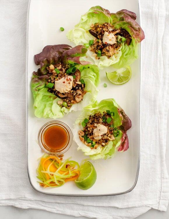 mushroom and quinoa lettuce wrap recipe for detox health diet
