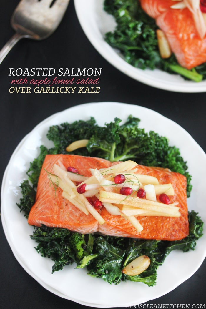 roasted salmon and apple fennel salad for healthy diet