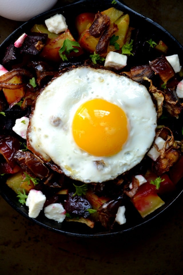 Roasted Potato and Beet Hash with Goat Cheese