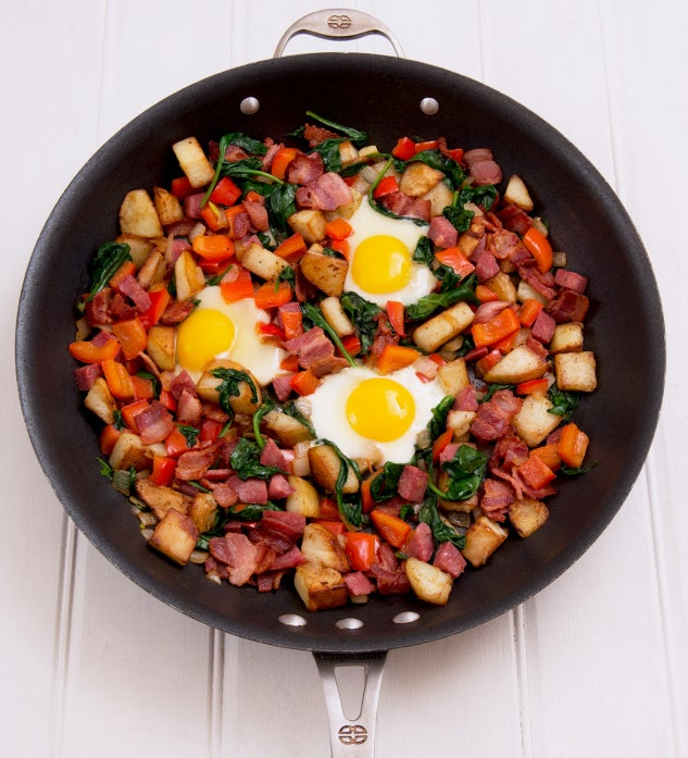 Salami, Bacon and Spinach Breakfast Hash