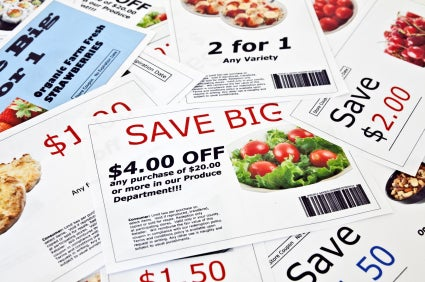 stack of grocery coupons