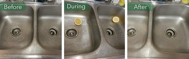 lemons to clean a sink