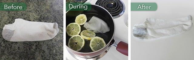 boiling socks with lemons