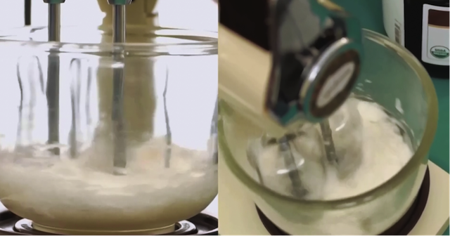 mixing coconut oil in stand mixer