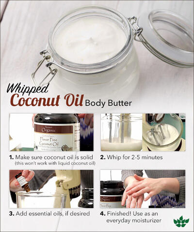 DIY Whipped Coconut Oil Body Butter and Sugar Scrub