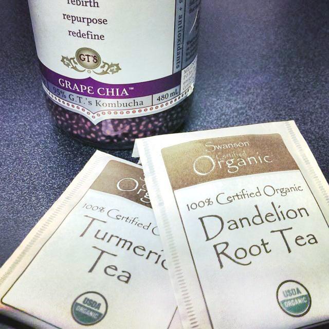 chia kombucha and Swanson Organic tea