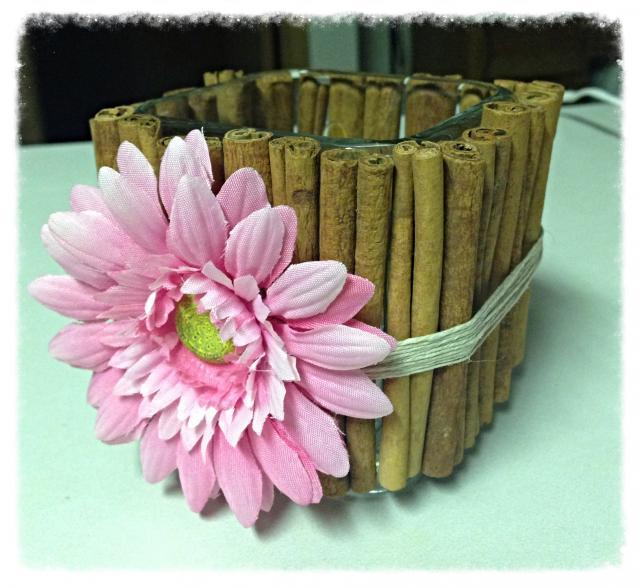 cinnamon stick vase candle diy project