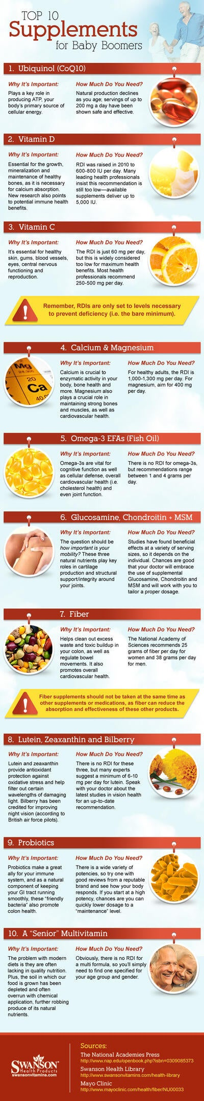 Top 10 Supplements for Baby Boomers (INFOGRAPHIC)